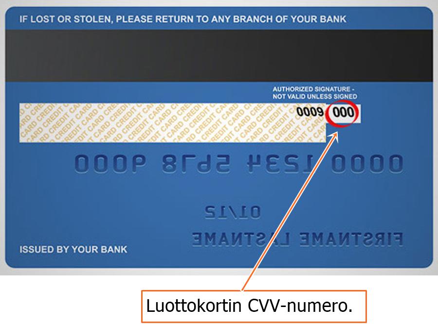 Luottokortin CVV-numero
